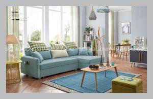 Chỉ với một chiếc sofa giường thông minh màu xanh, cả căn phòng sáng bừng lên đầy sức sống phải không nào?