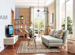 Sofa giường nhập khẩu với kiểu dáng gọn nhẹ, rất tiện dụng và thích hợp với phòng khách nhỏ