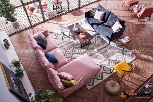 Sofa phòng khách với gam màu hồng pastel xinh xắn