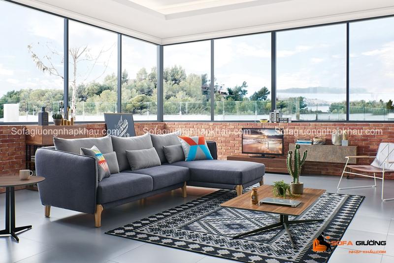 Sofa phòng khách với sắc thái xám phong cách