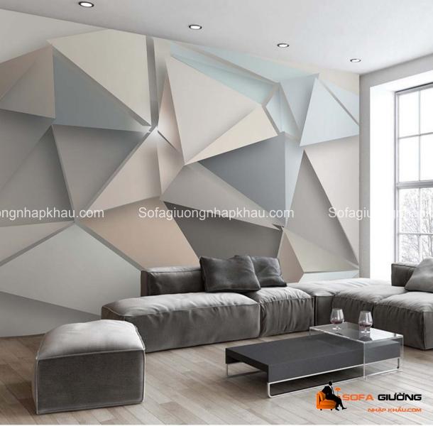 Ghế sofa phòng khách sẽ trở nên thu hút hơn với họa tiết hình học được thiết kế theo phong cách 3D