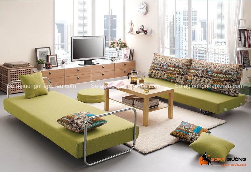 Sofa giường bộ với nhiều chiếc ghế có kích thước khác nhau