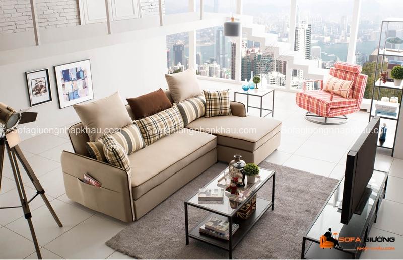 Ghế sofa đẹp hiện đại với thiết kế thông minh được tích hợp ngăn đựng đồ đầy tiện ích