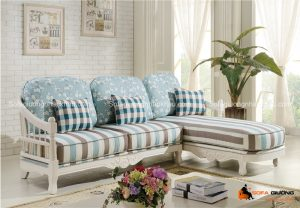 Một không gian phòng khách đẹp với màu sắc sofa giường xanh nhạt